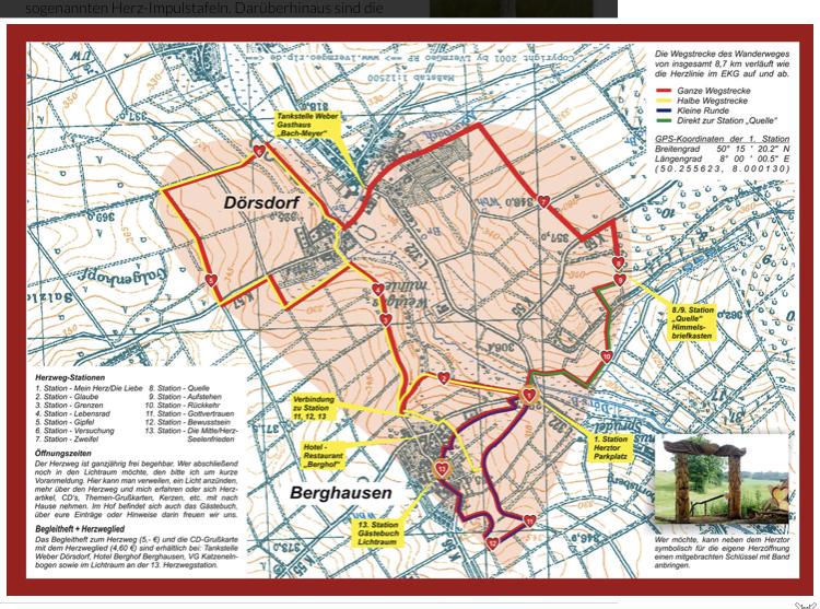 Karte zum Herzweg des Friedens Bergedorf